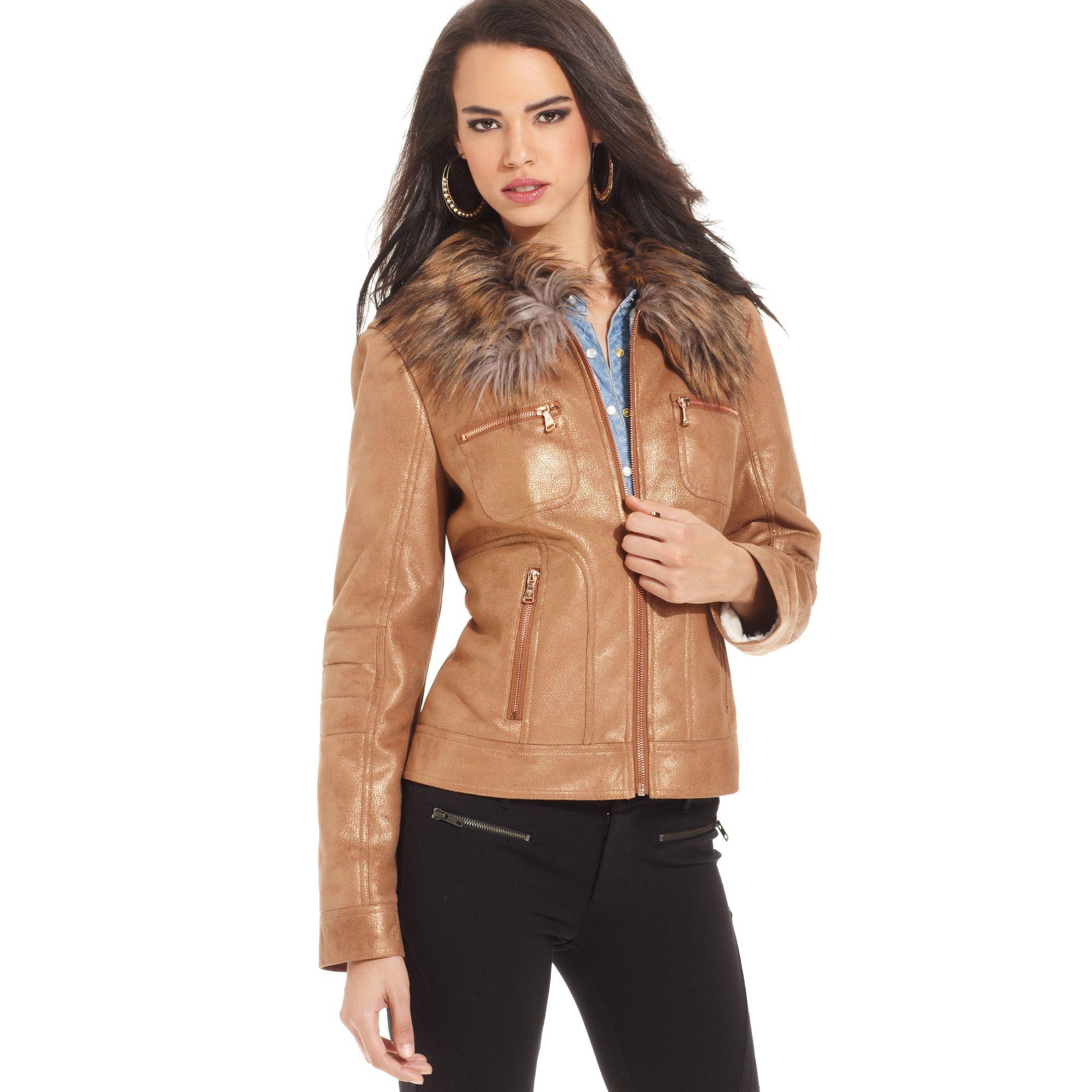 Lyst - Guess Faux fur Metallic Jacket in Brown