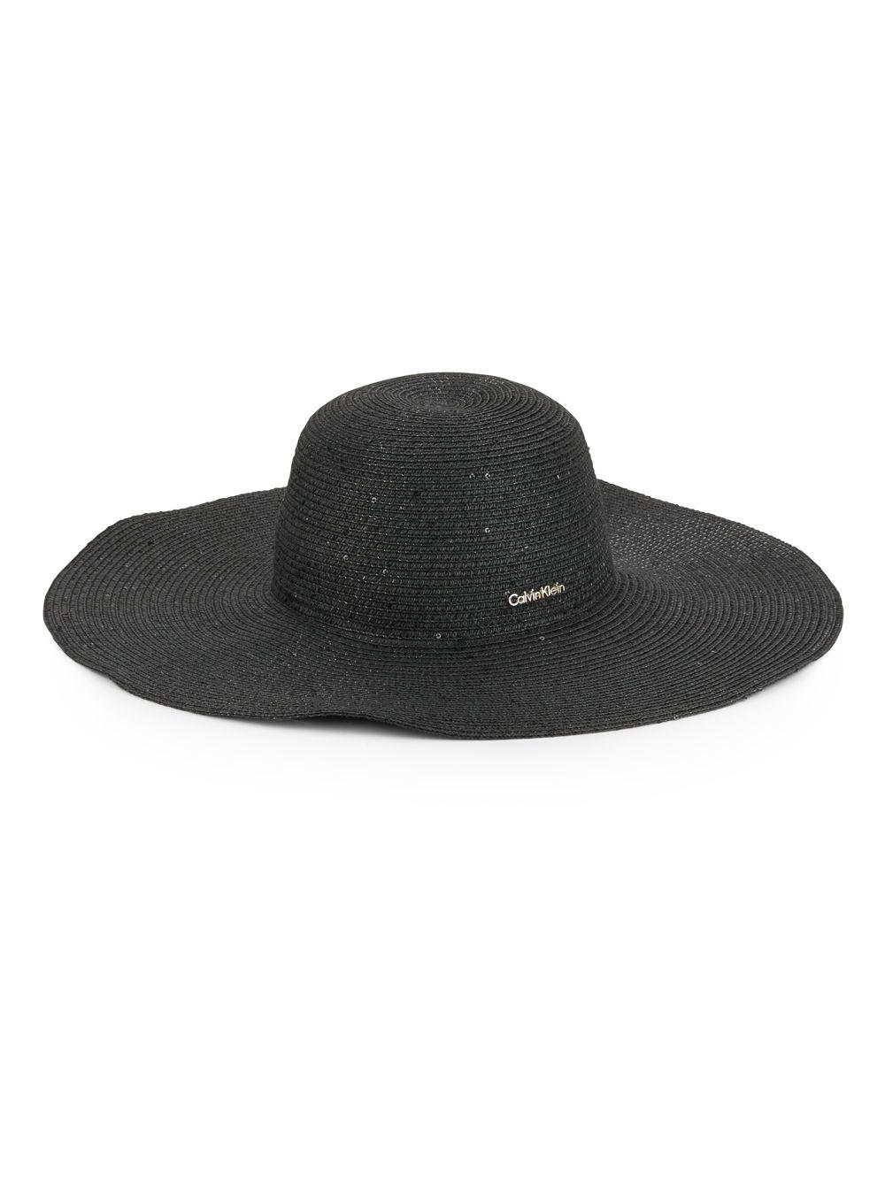 calvin klein sequined sun hat in black lyst