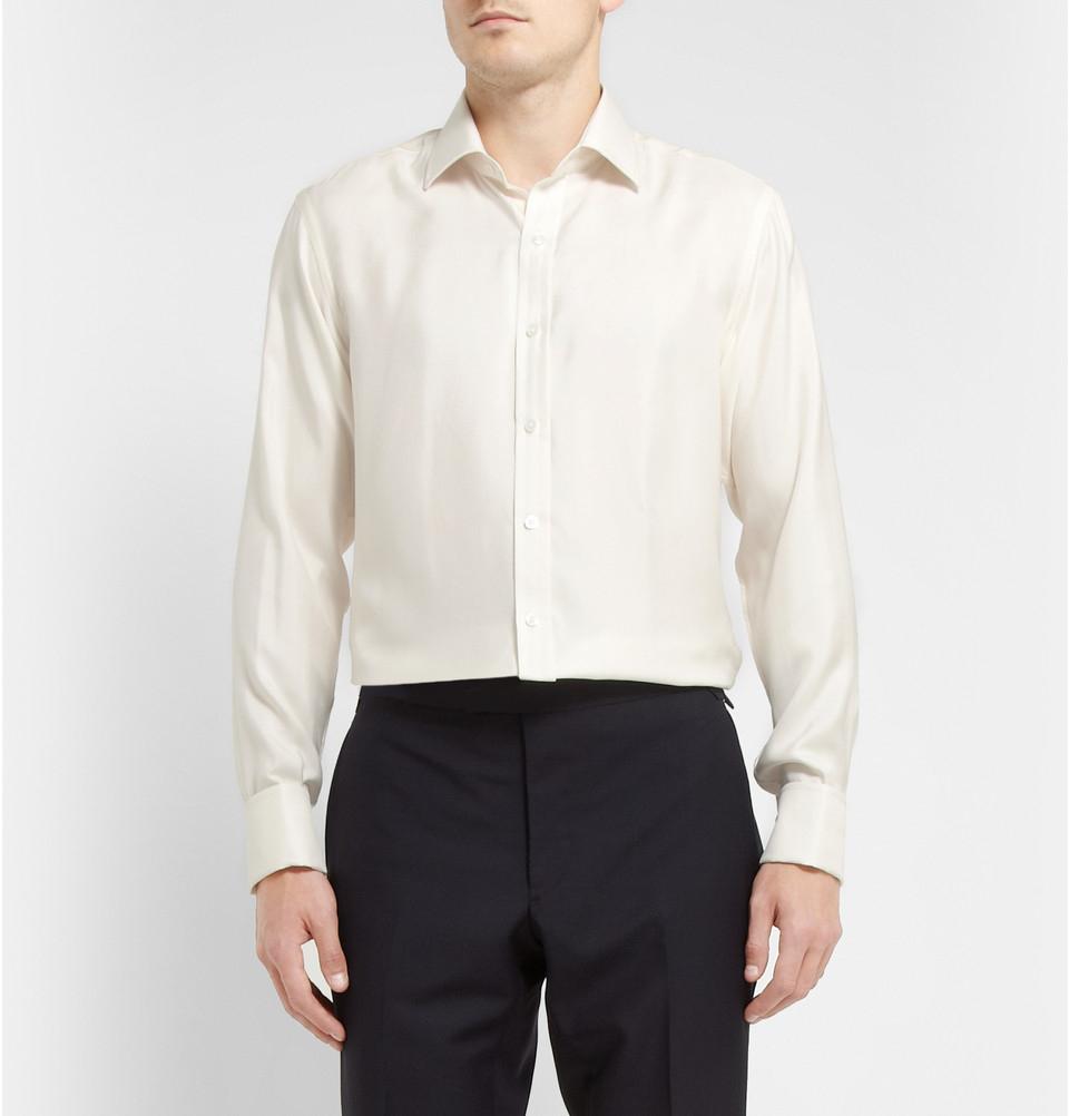 Lyst Emma Willis Ivory Slim Fit Silk Shirt In White For Men