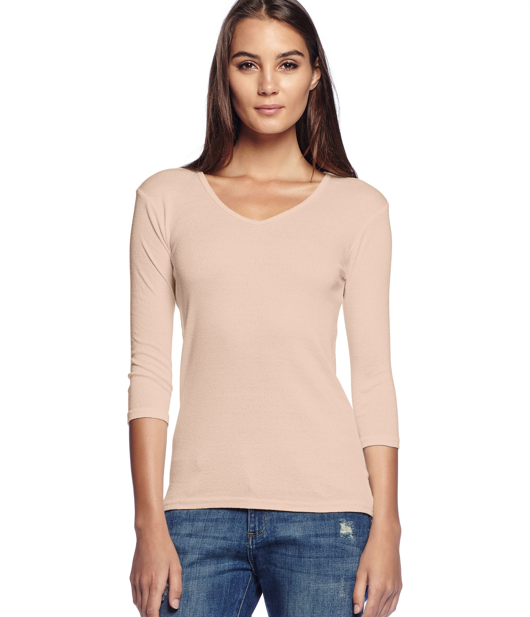 Michael stars shine middle sleeve v neck tee in beige for Michael stars t shirts on sale