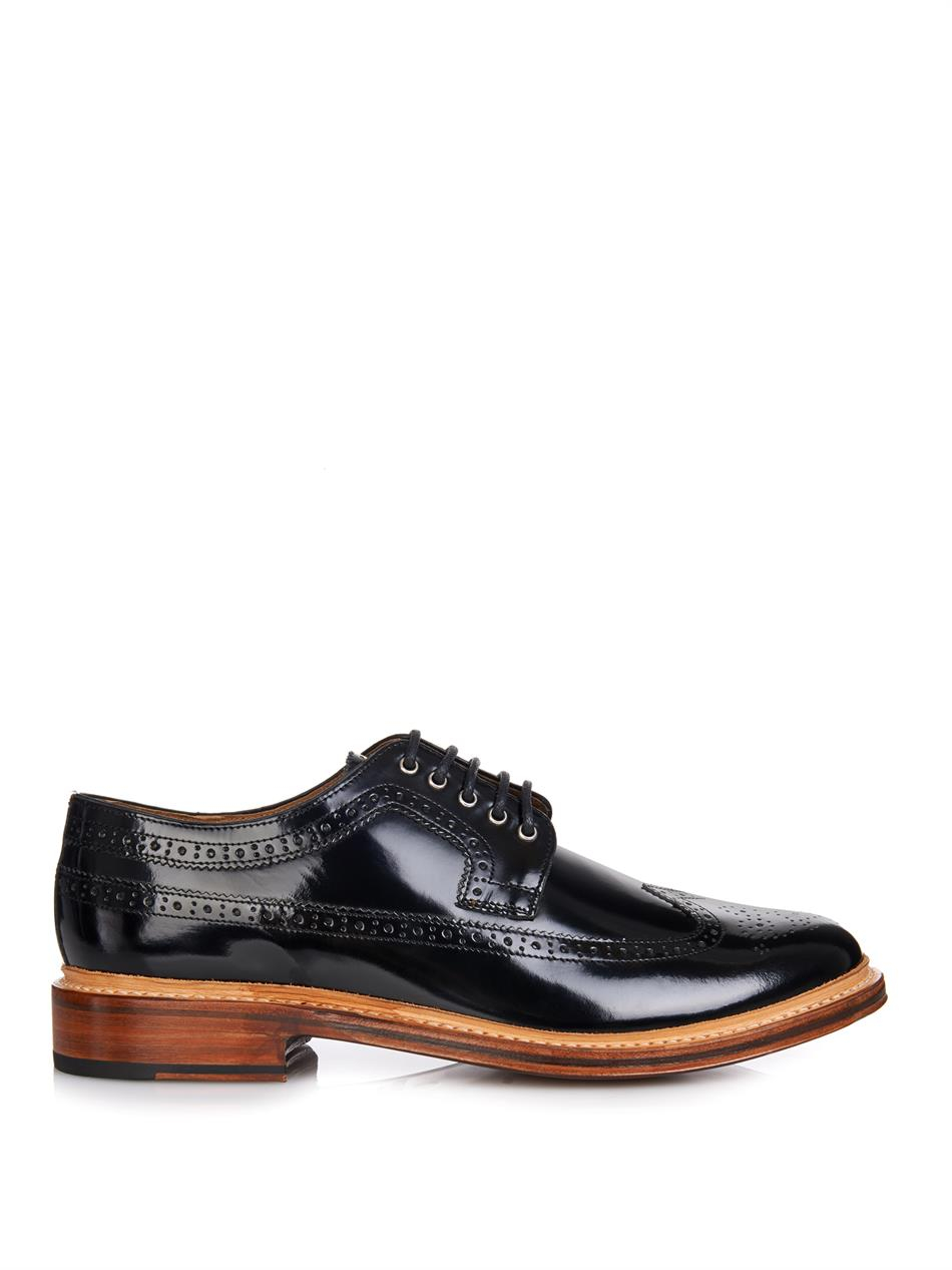 Foot The Coacher Sid High-Shine Leather Brogues in Black (Purple) for Men