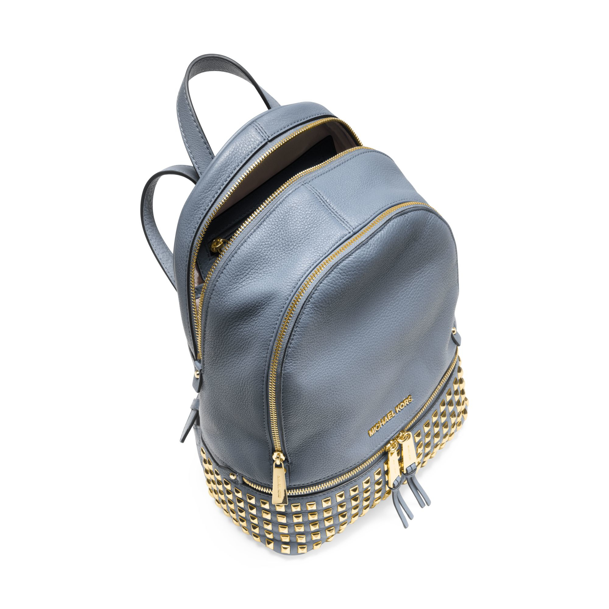 Michael kors Rhea Small Studded Leather Backpack in Blue | Lyst
