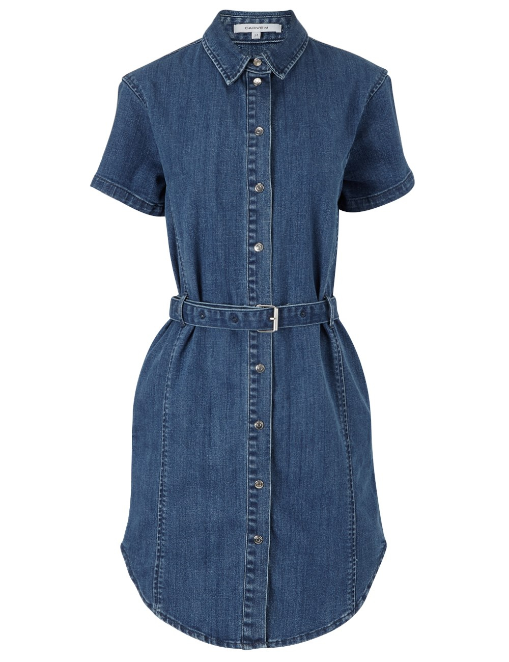 carven blue denim belted dress in blue lyst