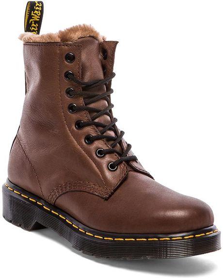 dr martens serena 8 eye boot with faux fur liner in brown. Black Bedroom Furniture Sets. Home Design Ideas