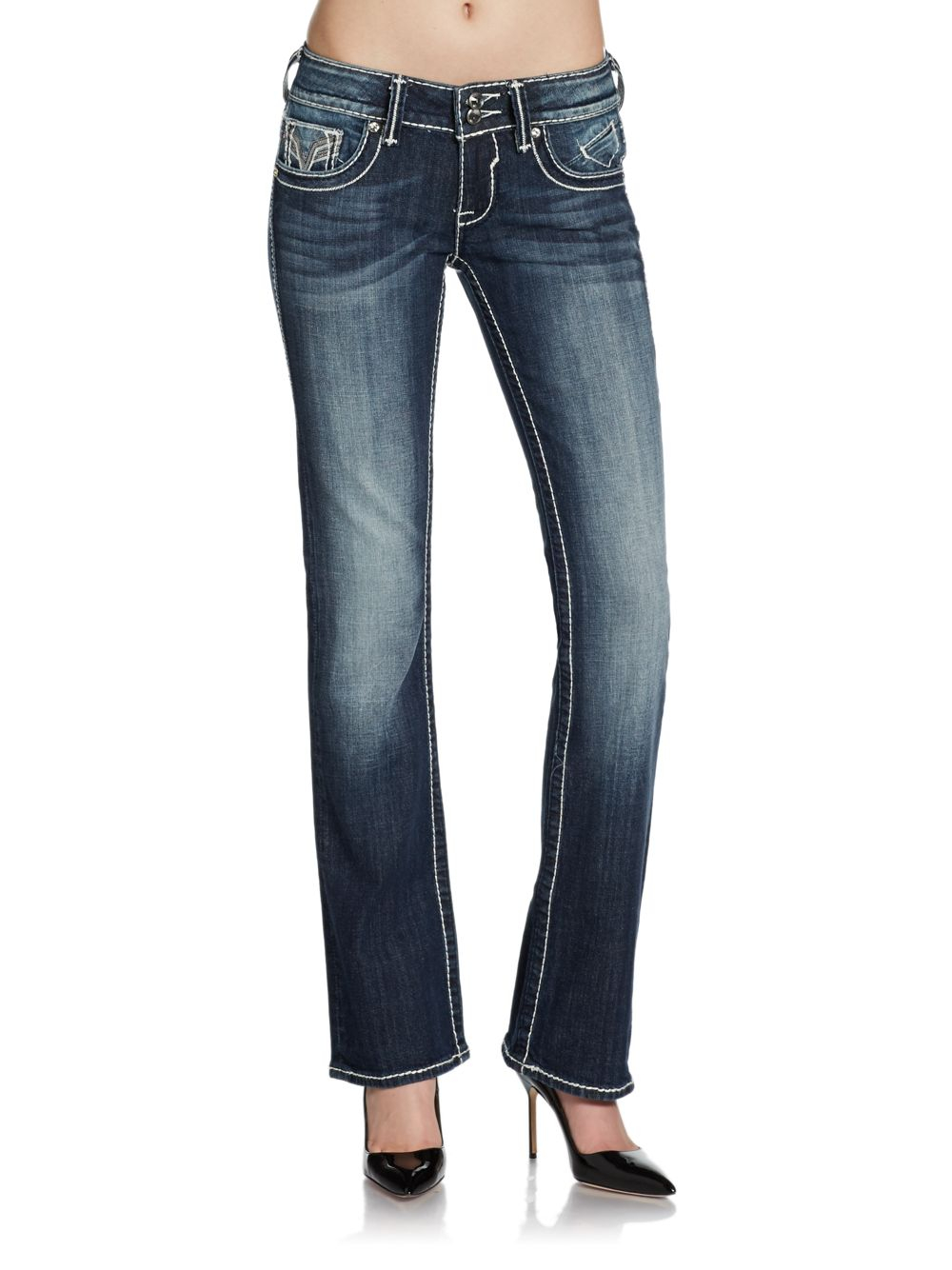 lyst vigoss chelsea sequined bootcut jeans in blue