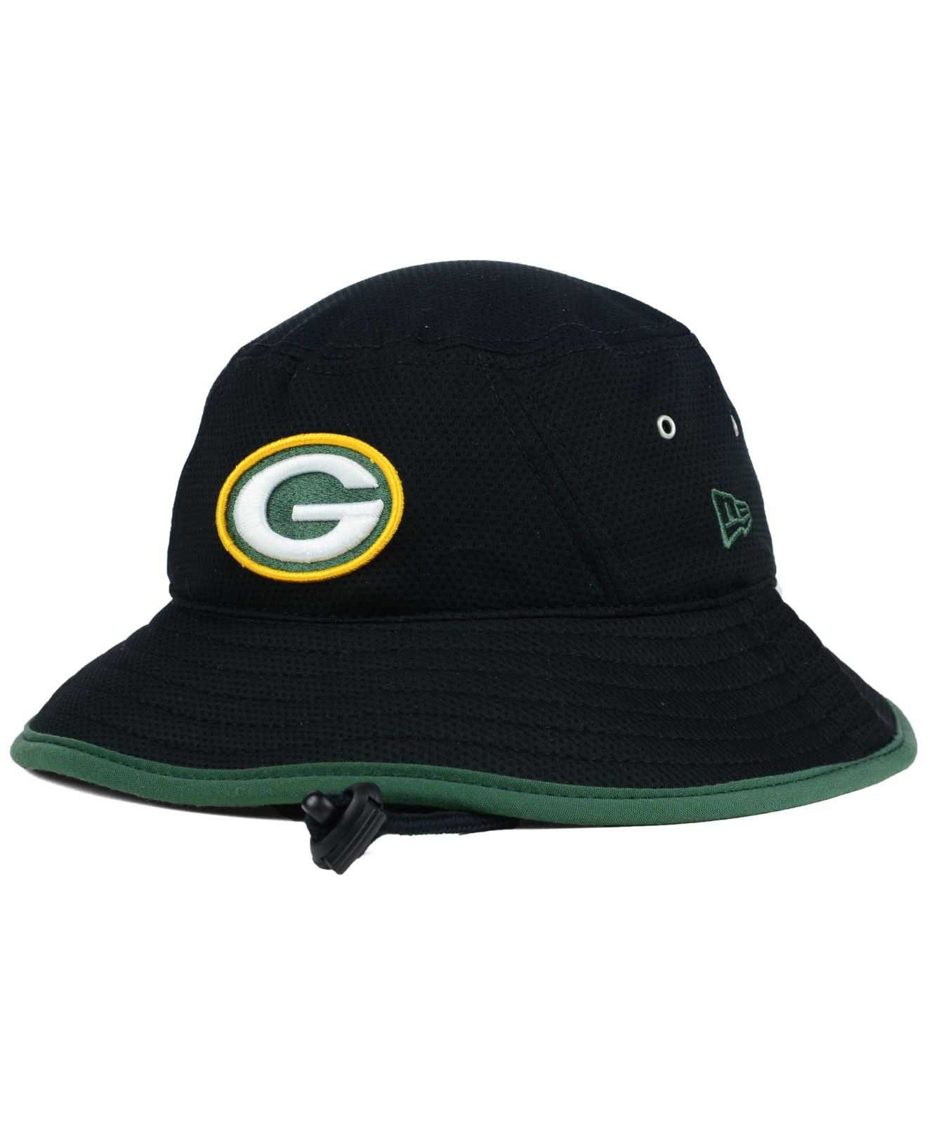 c0b6dc245 KTZ Black Green Bay Packers Training Bucket Hat for men
