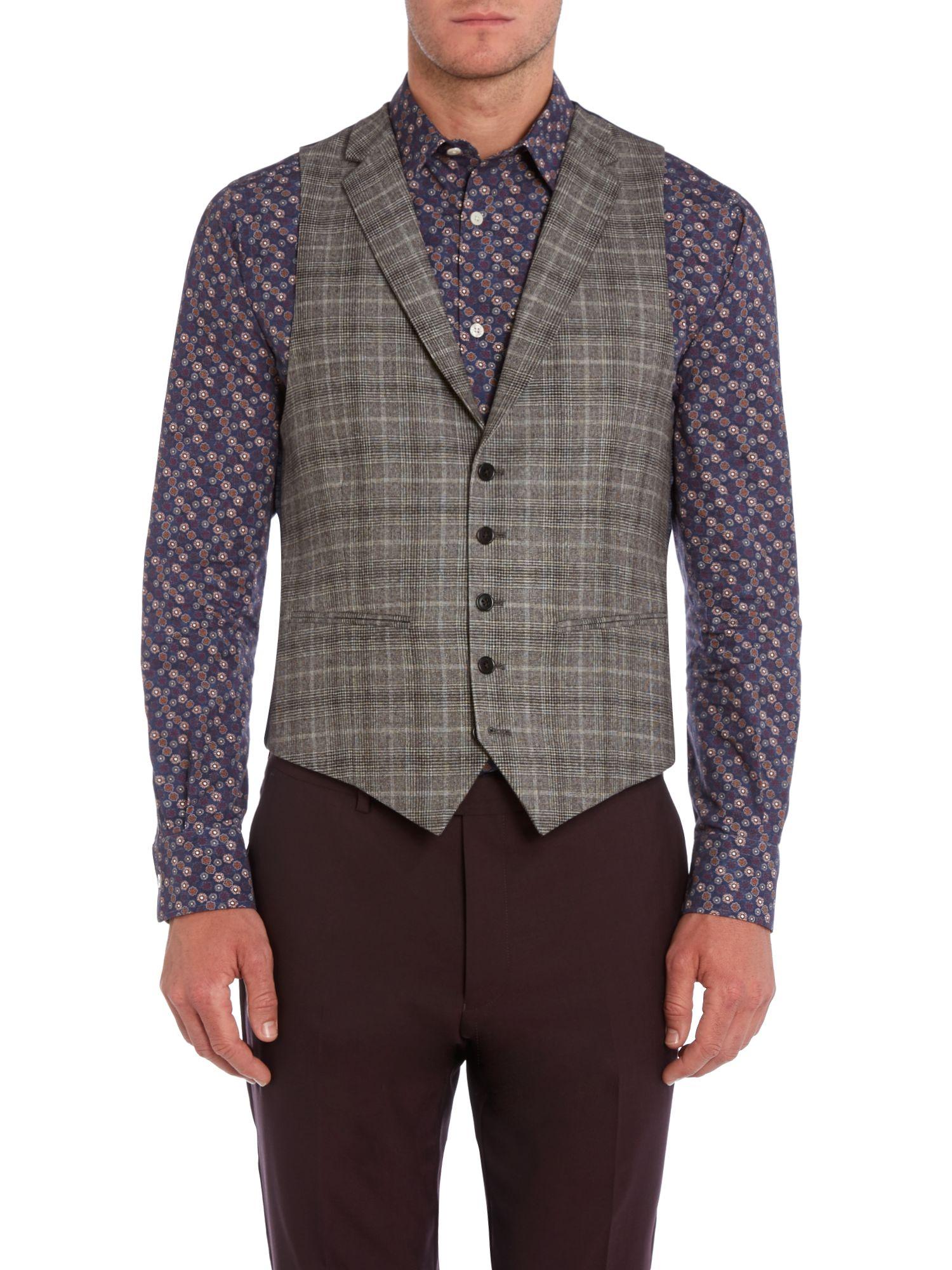 New Amp Lingwood Clarin Check Flannel Notch Lapel Waistcoat