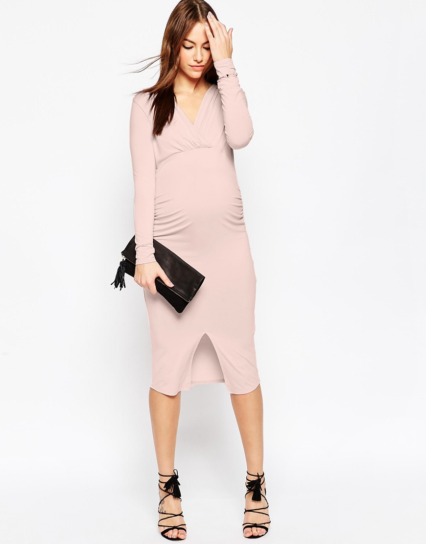f96843f61c703 ASOS Gamze Ruched Midi Dress With Long Sleeves And Split in Pink - Lyst