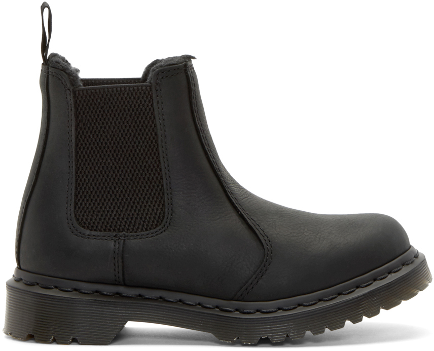 lyst dr martens black fur lined leonore chelsea boots. Black Bedroom Furniture Sets. Home Design Ideas