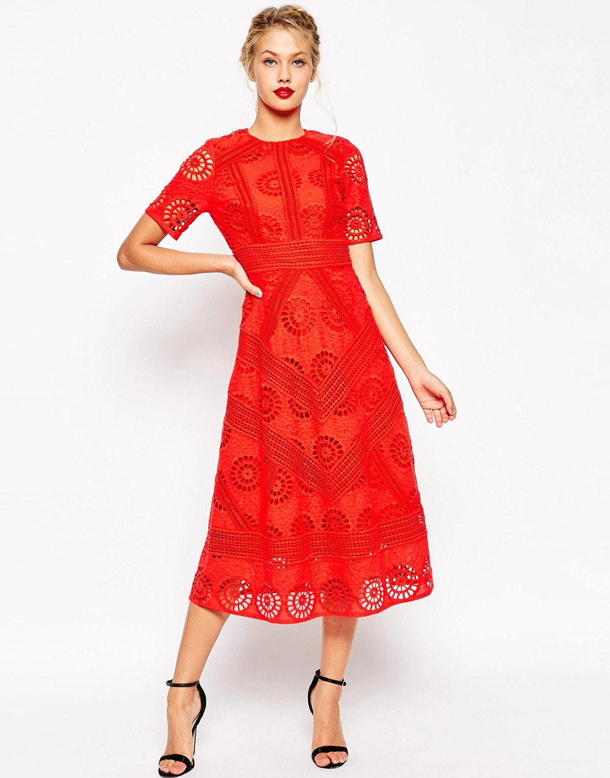 Lyst - Asos Premium Midi Skater Dress In Lace in Red