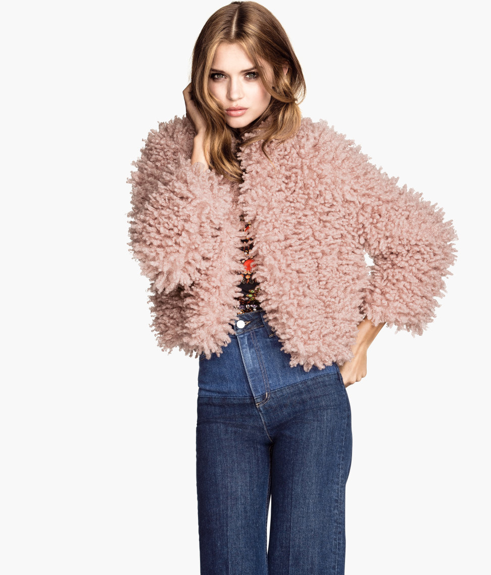 2019 hot sale 100% satisfaction release info on H&M Fake Fur Jacket in Powder Pink (Pink) - Lyst
