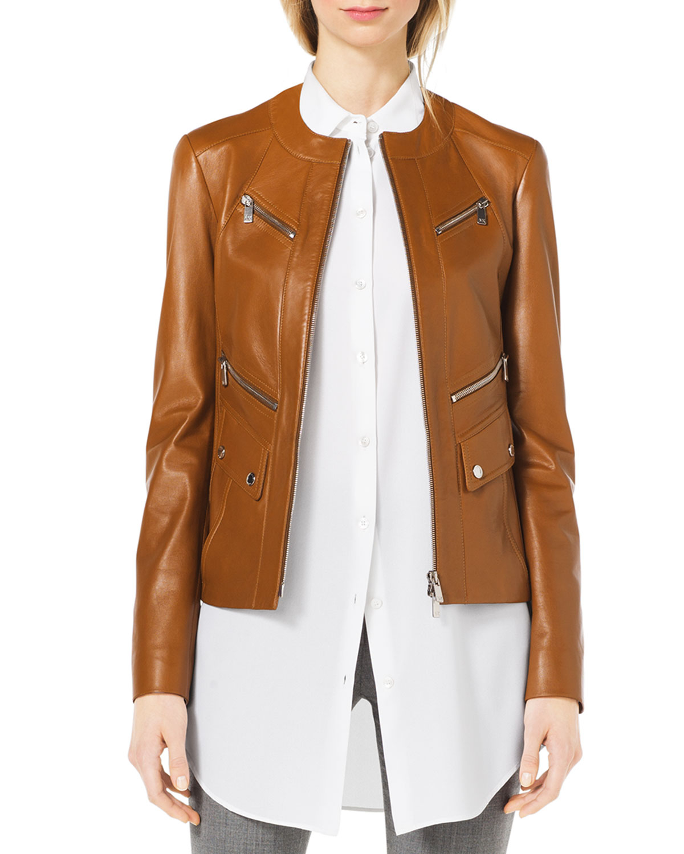 michael kors leather moto zip front jacket in brown lyst. Black Bedroom Furniture Sets. Home Design Ideas