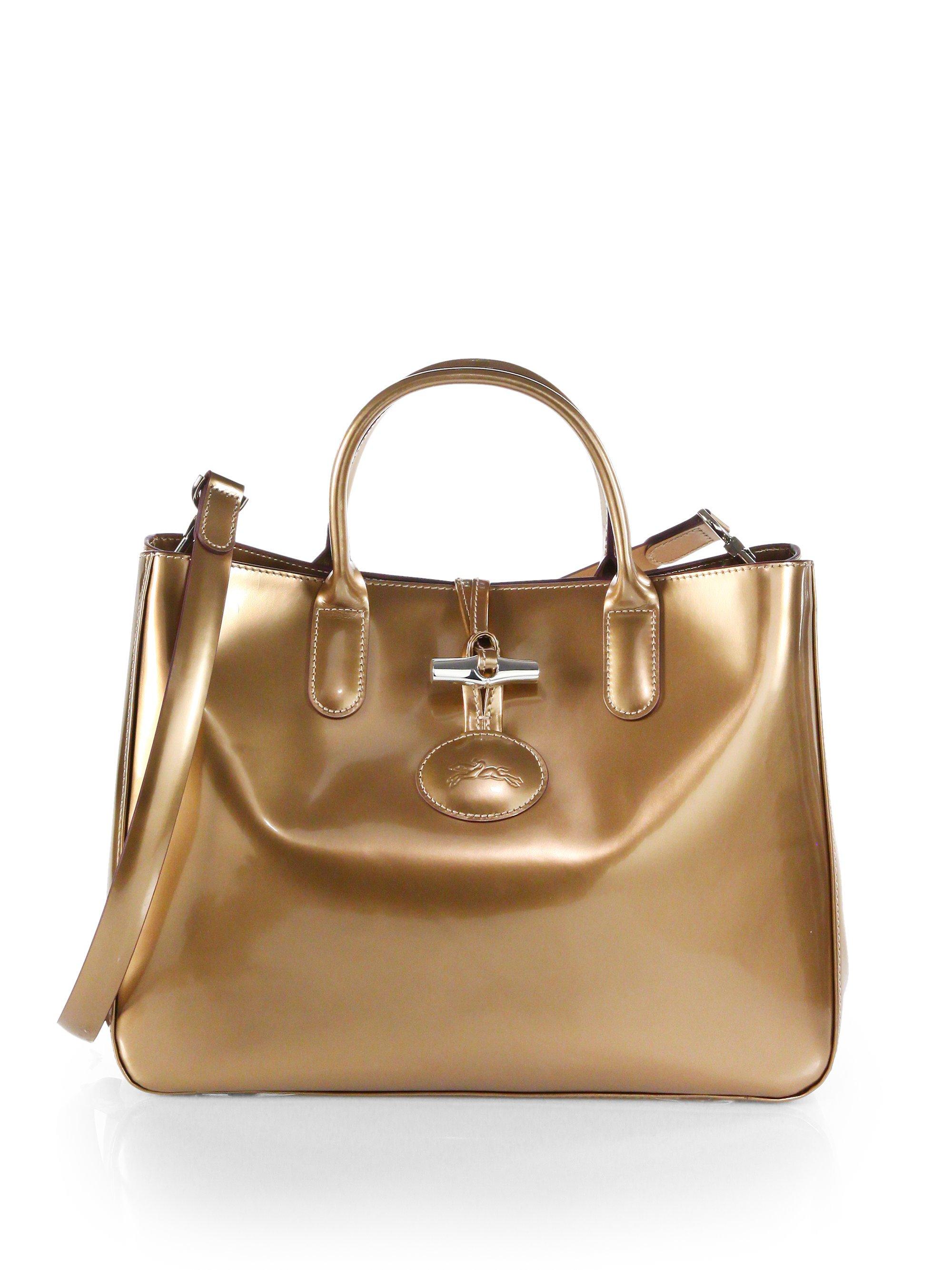 Lyst - Longchamp Roseau Metallic Patent Leather Box Tote in Metallic 28a441b8ade89
