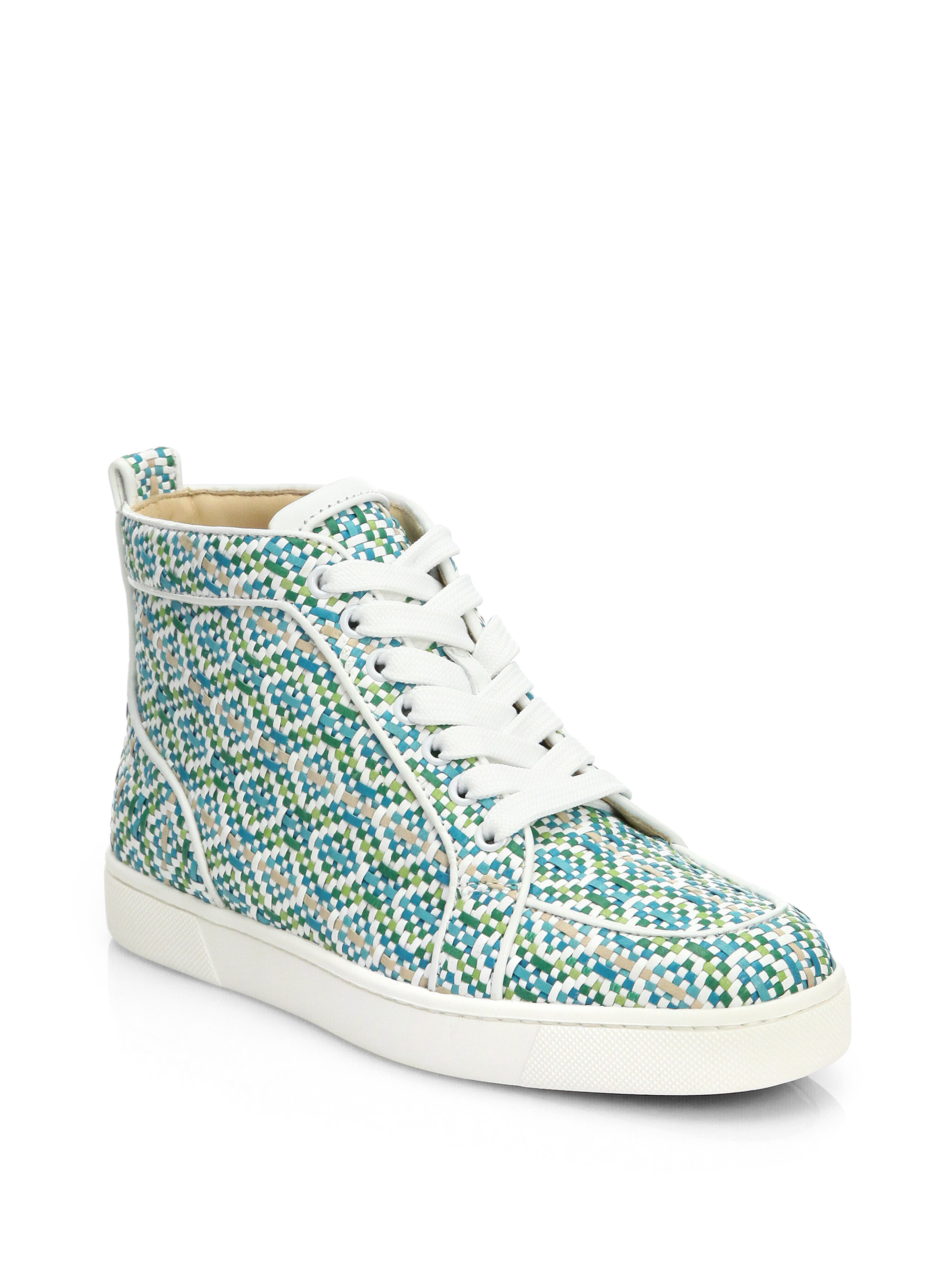 Lyst - Christian Louboutin Rantus Woven Leather Hightop Sneakers 9f505c9416