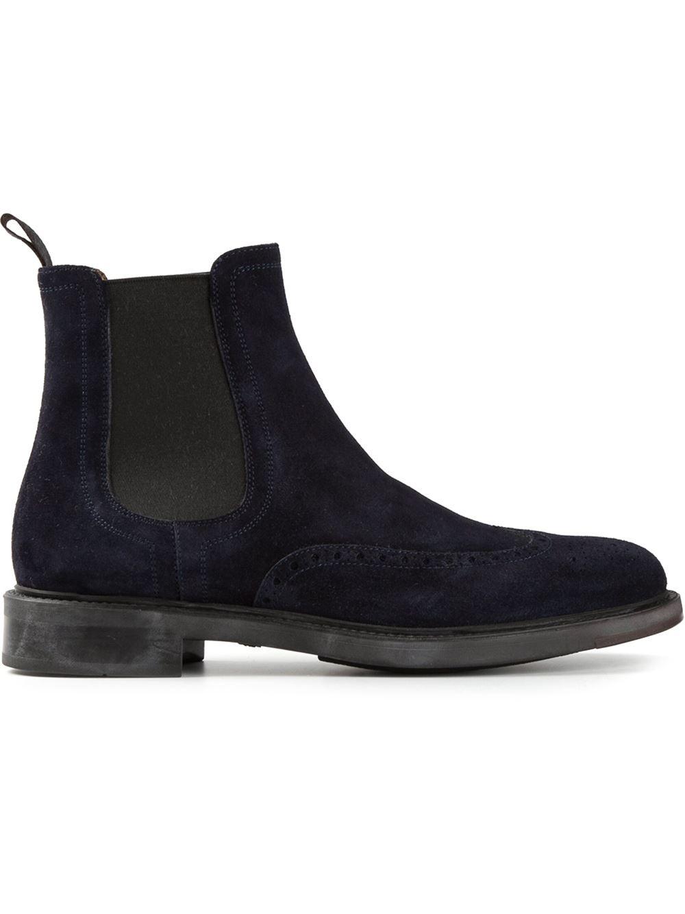 santoni chelsea boots in blue for men lyst. Black Bedroom Furniture Sets. Home Design Ideas
