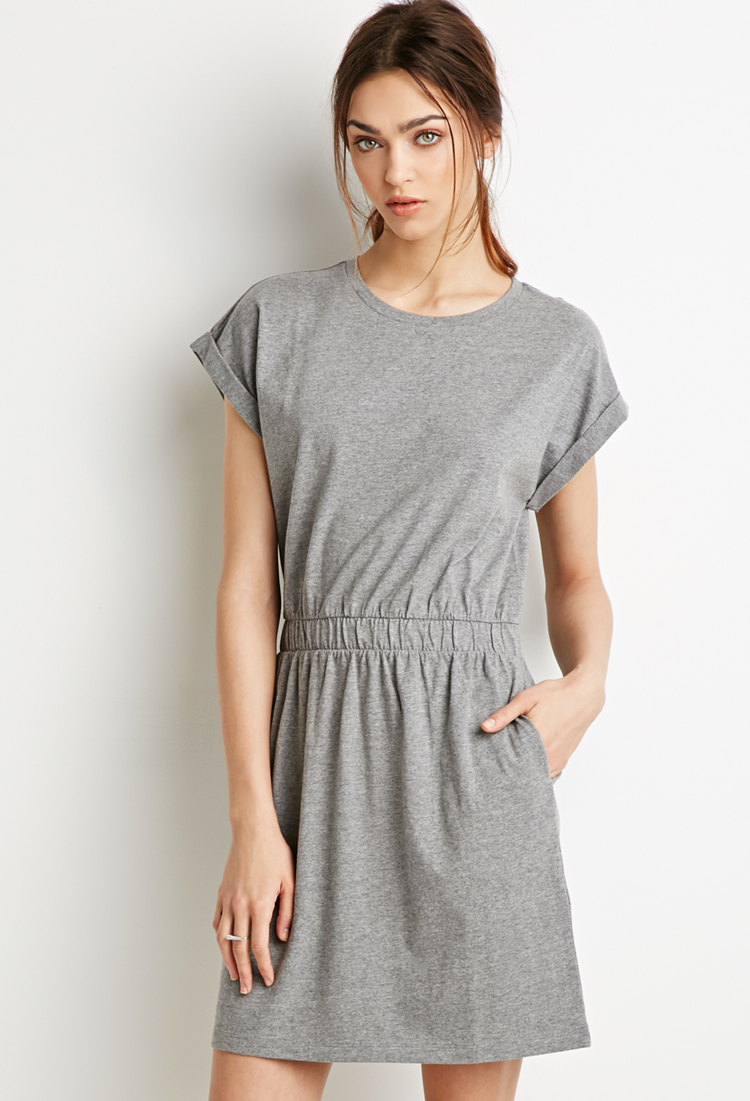 79c6047463 Forever 21 Cotton T-shirt Dress in Gray - Lyst