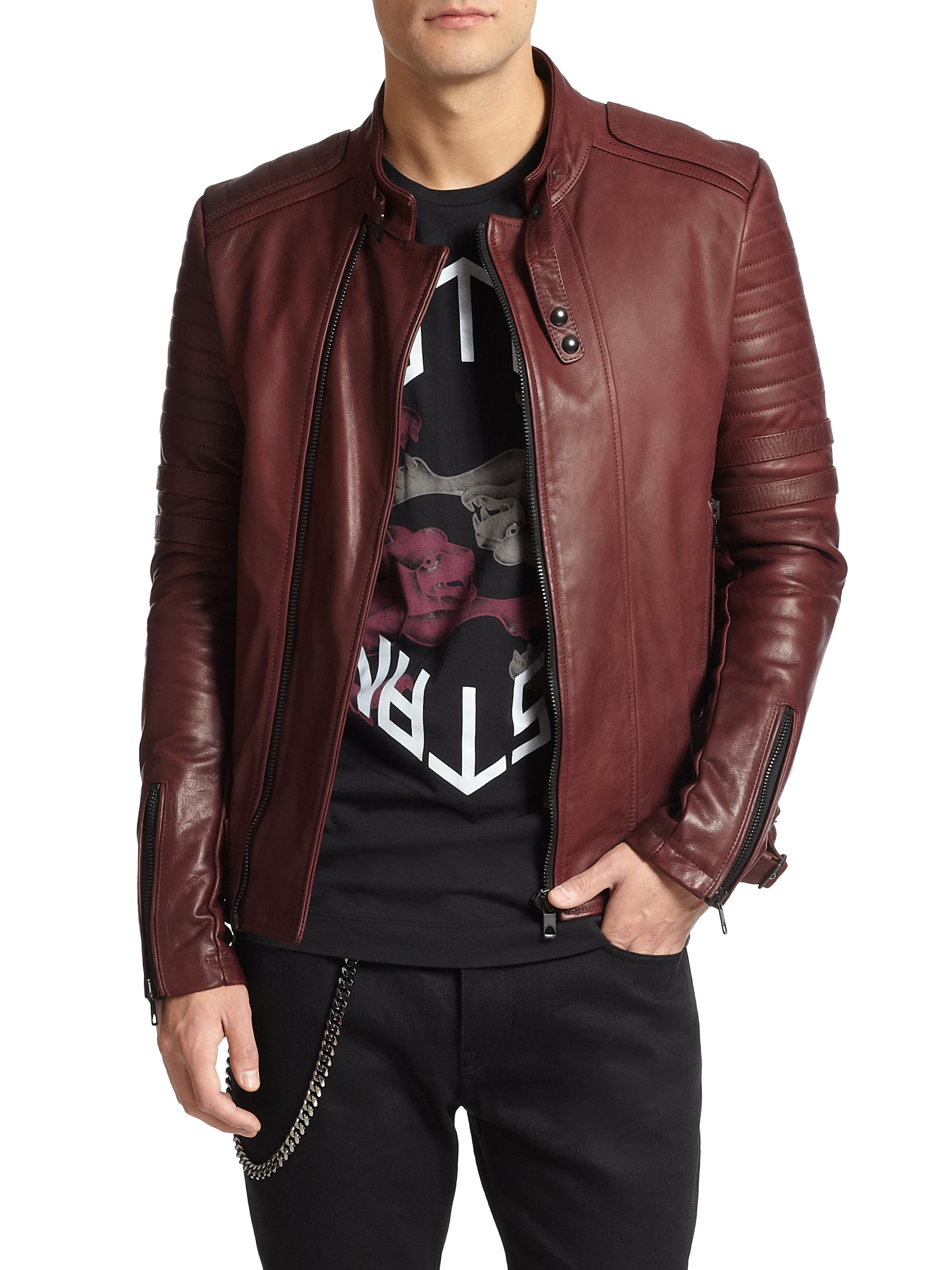 Diesel Black Gold Leather Biker Jacket In Bordeaux Red