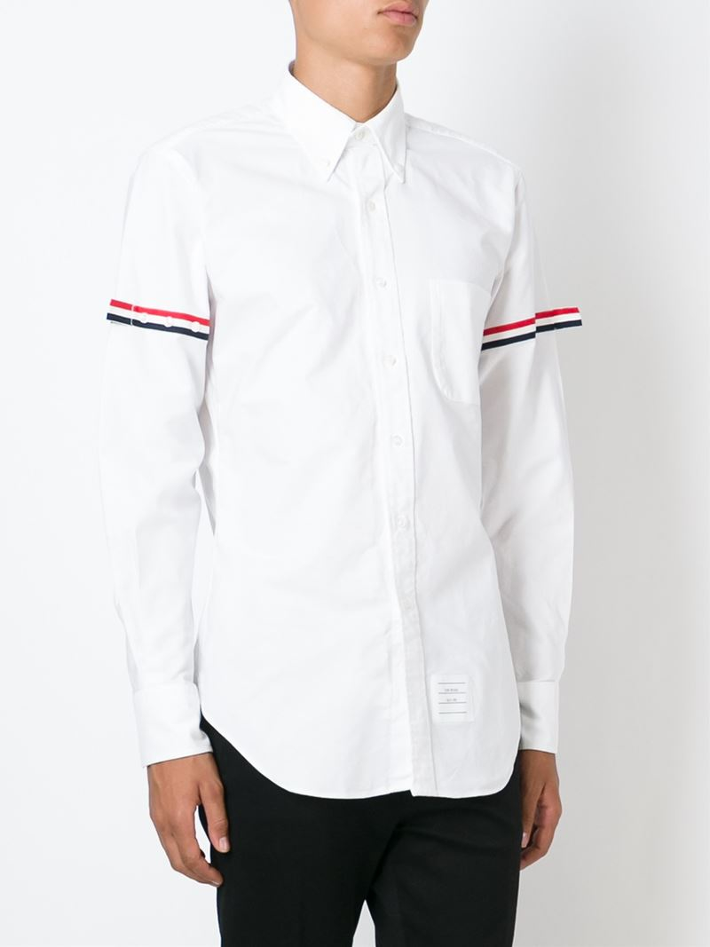 thom browne striped sleeve shirt in white for men lyst