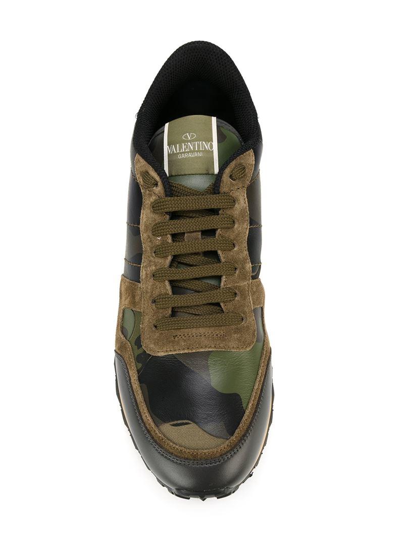 Valentino Green Valentino Garavani Camo Rockrunner Sneakers 2BWebP