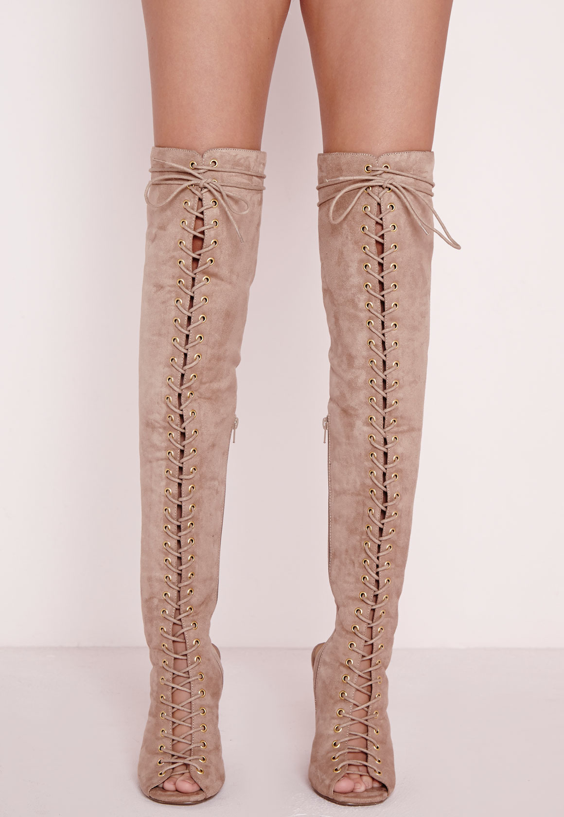 The Knee Lace Up Gladiator Boots Nude