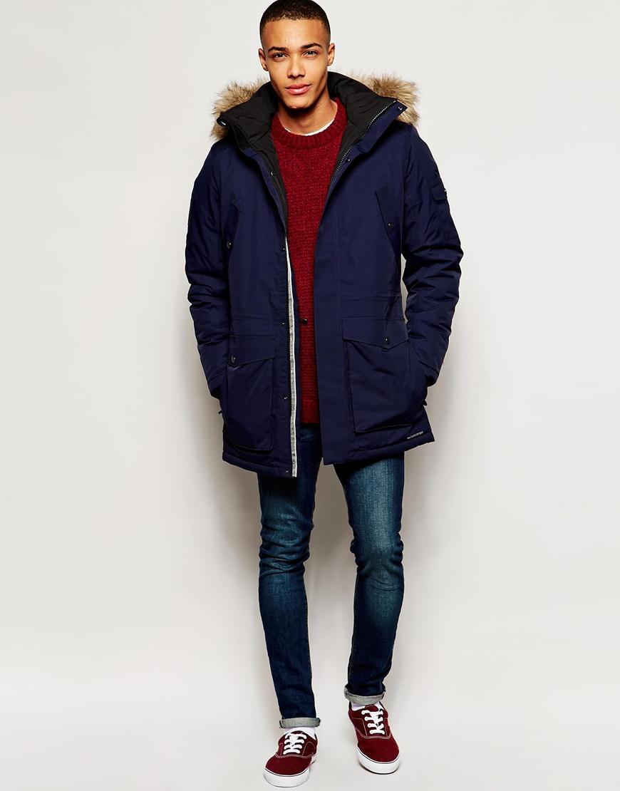 jack jones parka with bonded seams faux fur hood in blue for men. Black Bedroom Furniture Sets. Home Design Ideas