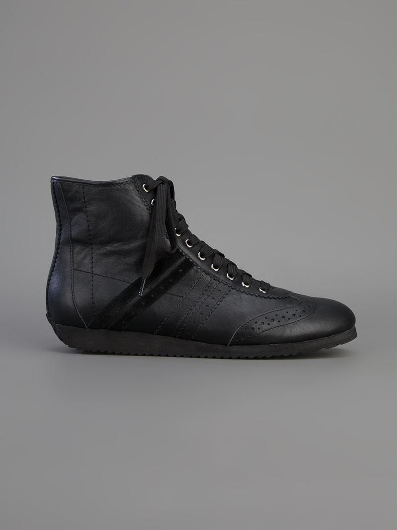 Pleats Please Issey Miyake Panelled Hi-top Sneaker in Black