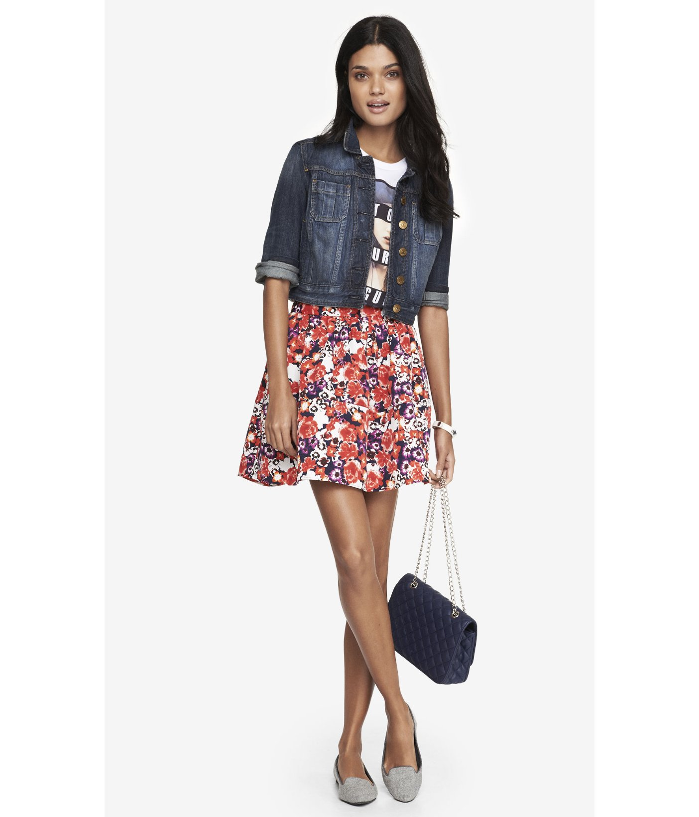 express high waist full mini skirt floral in multicolor