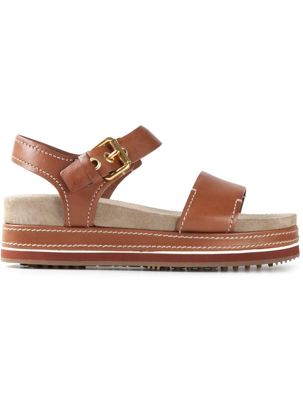 car shoe buckled platform sandals in brown lyst