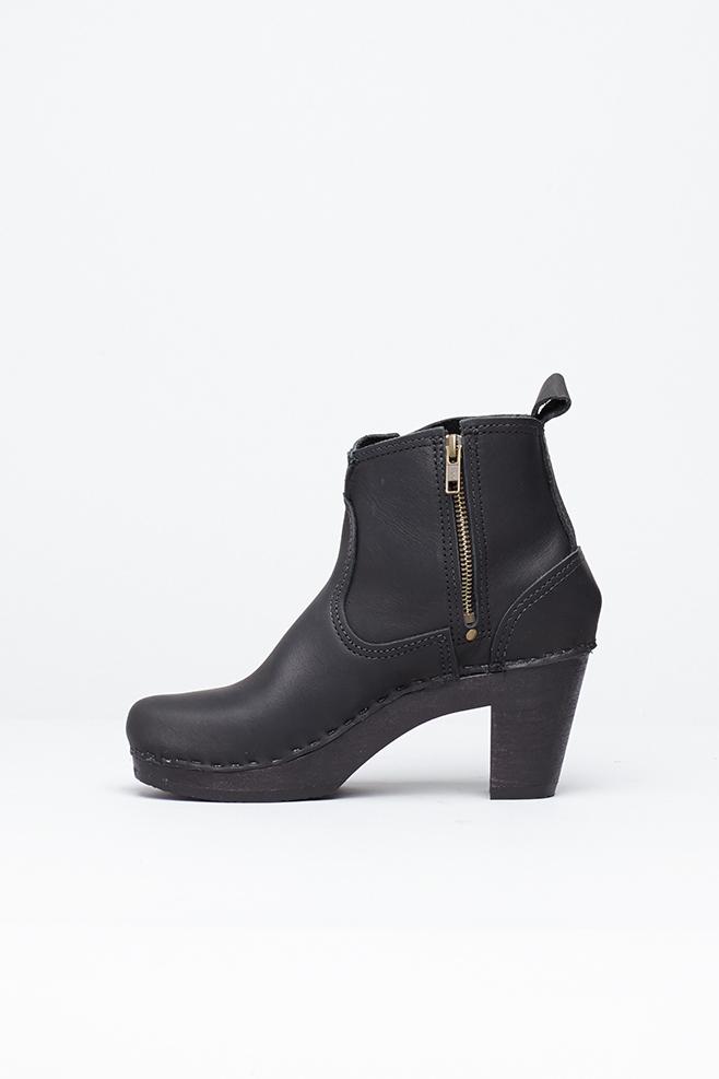 no 6 black black 5 quot buckle boot high heel in black lyst