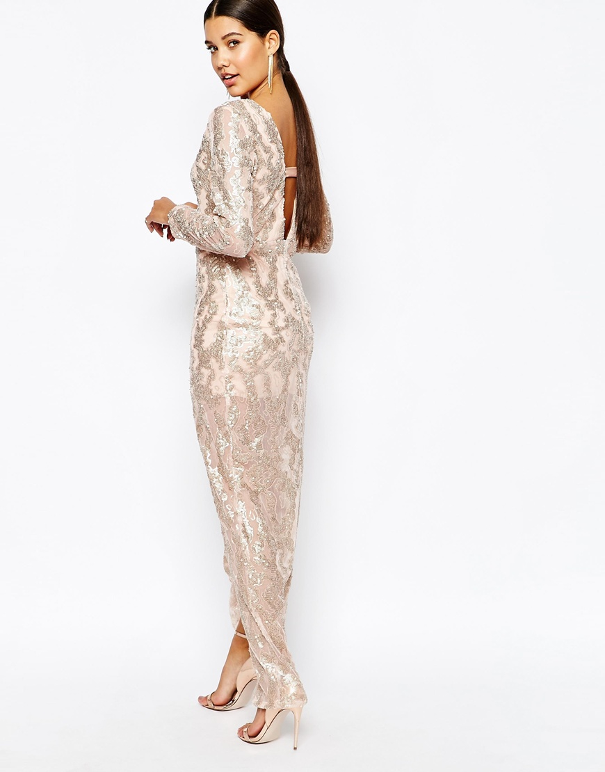 Club l Sequin Maxi Dress With Plunge - 273.9KB