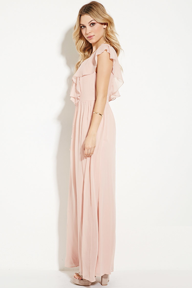 Lyst - Forever 21 Ruffled Chiffon Maxi Dress in Pink e79b4abbda861