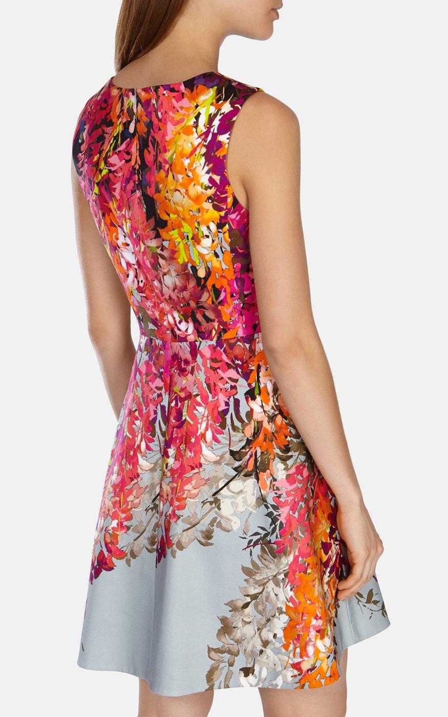 486da2beced Karen Millen Oriental Floral Print Fit And Flare Dress - Lyst