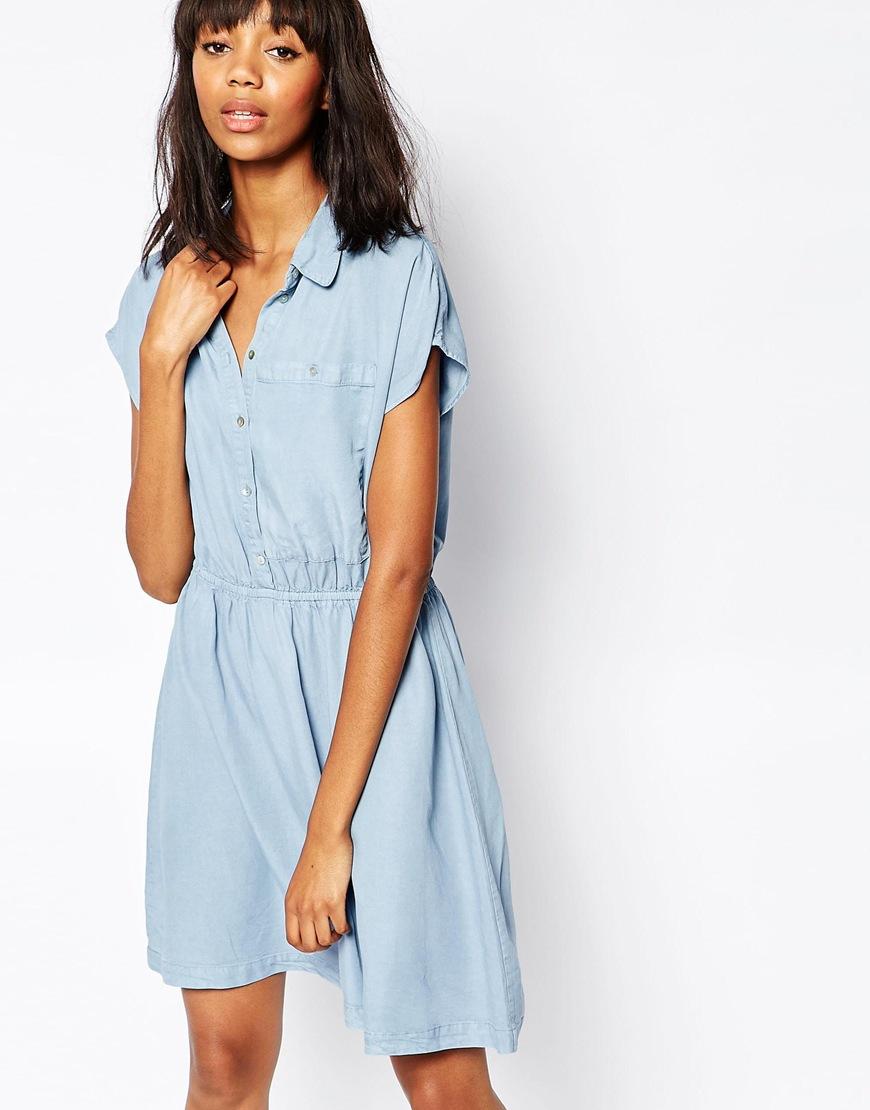 Minimum Denim Skater Dress in Blue | Lyst