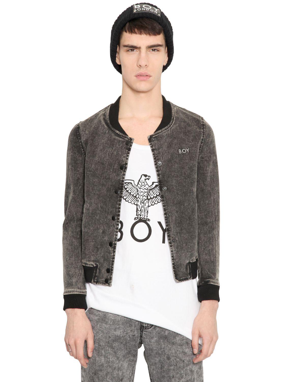 BOY London Washed Denim Cropped Bomber Jacket in Grey (Grey) for Men