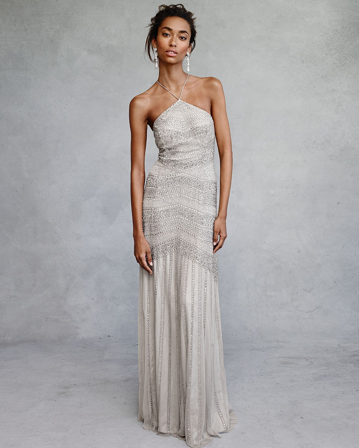 Aidan mattox Beaded Tulle Gown in Metallic | Lyst