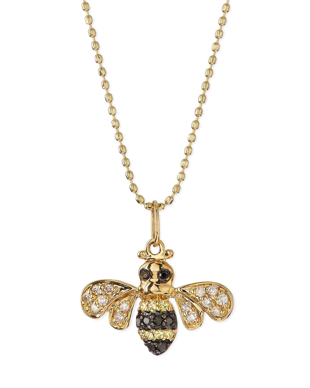 Lyst sydney evan 14k gold diamond bee pendant necklace in metallic gallery aloadofball Choice Image