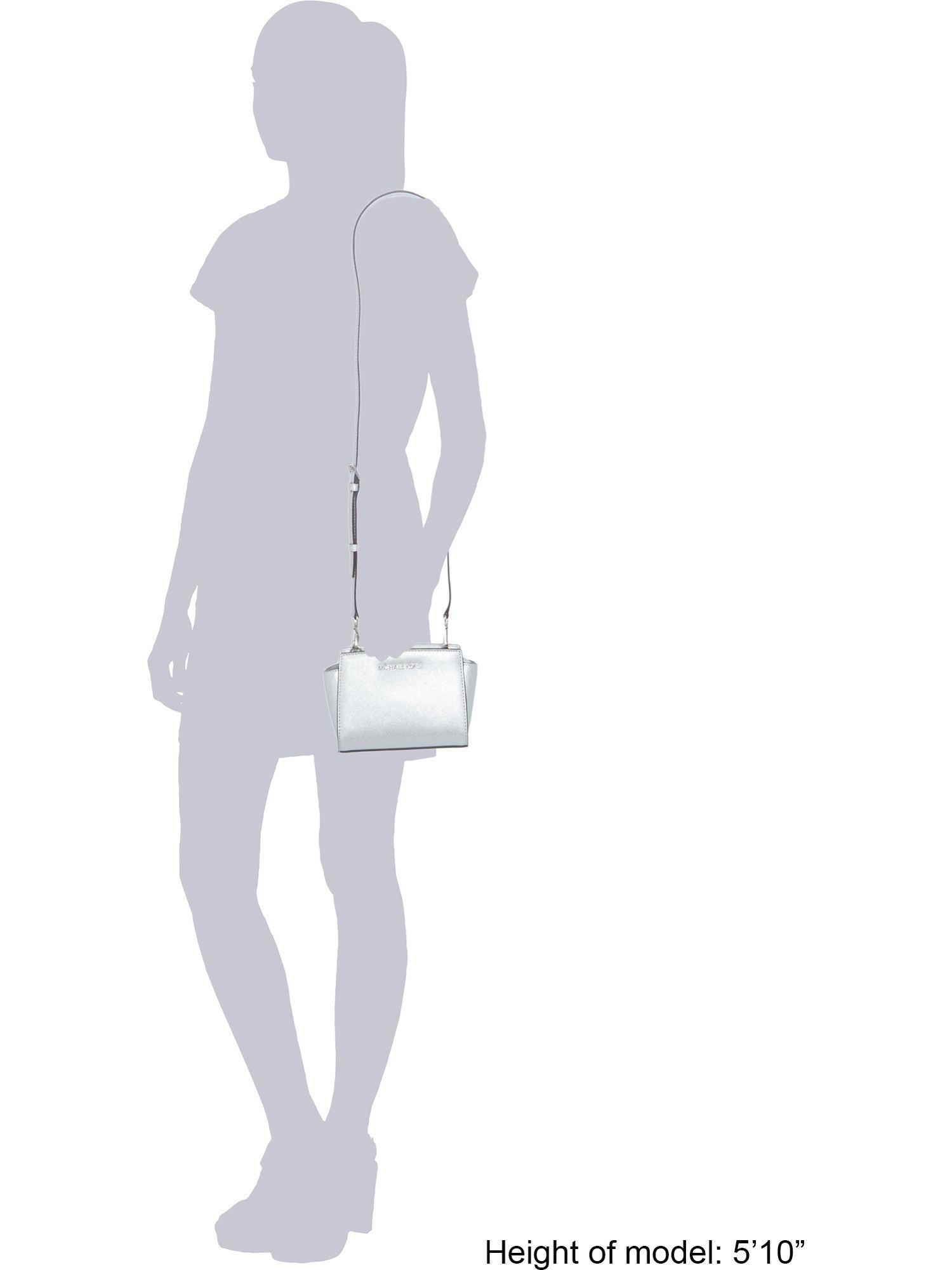 Michael Kors Selma Silver Mini Cross Body Bag in Metallic