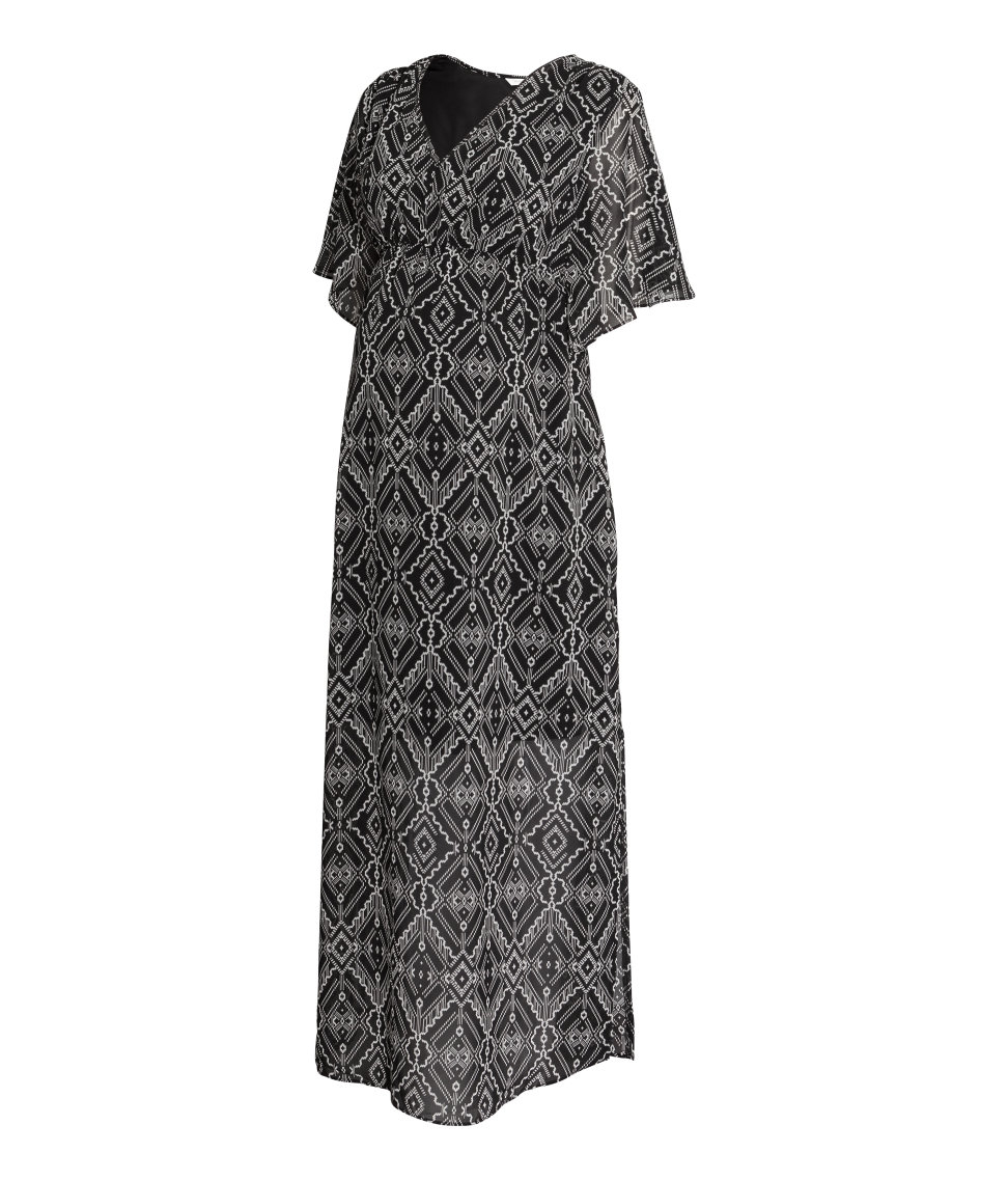 H&M Mama Long Patterned Dress in Black