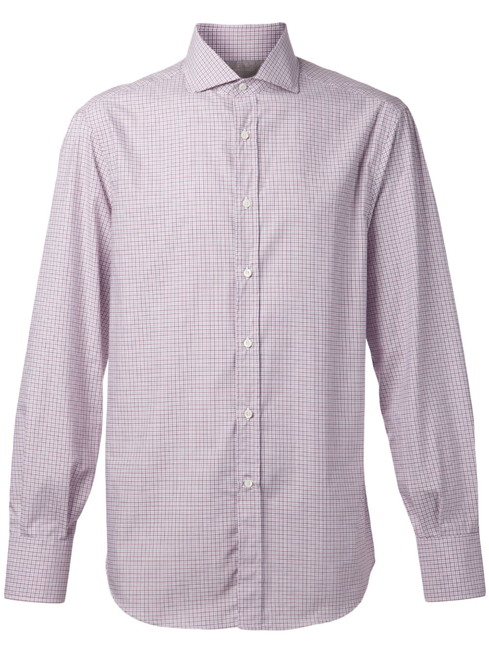 Brunello cucinelli spread collar check shirt in purple for for What is a spread collar shirt