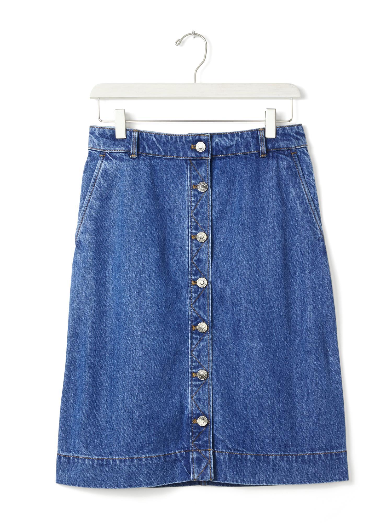 banana republic button front denim skirt in blue