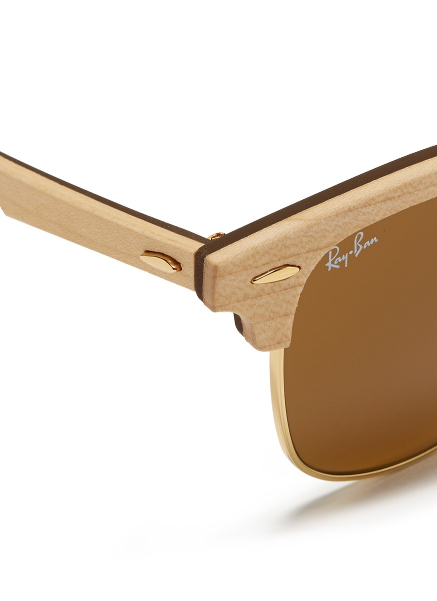 Ray-Ban 'clubmaster Wood' Browline Sunglasses in Metallic
