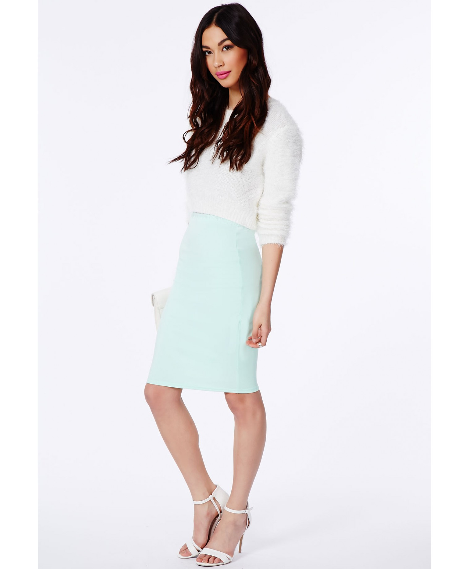 Missguided Candace Scuba Midi Skirt In Mint in Green | Lyst