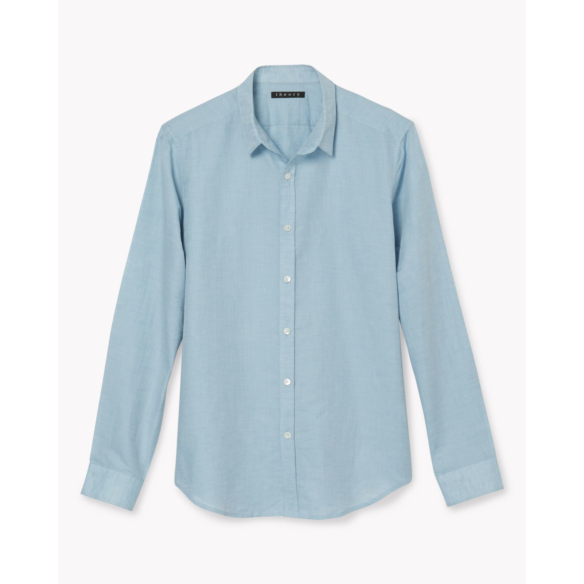 lyst theory linen cotton shirt in blue for men