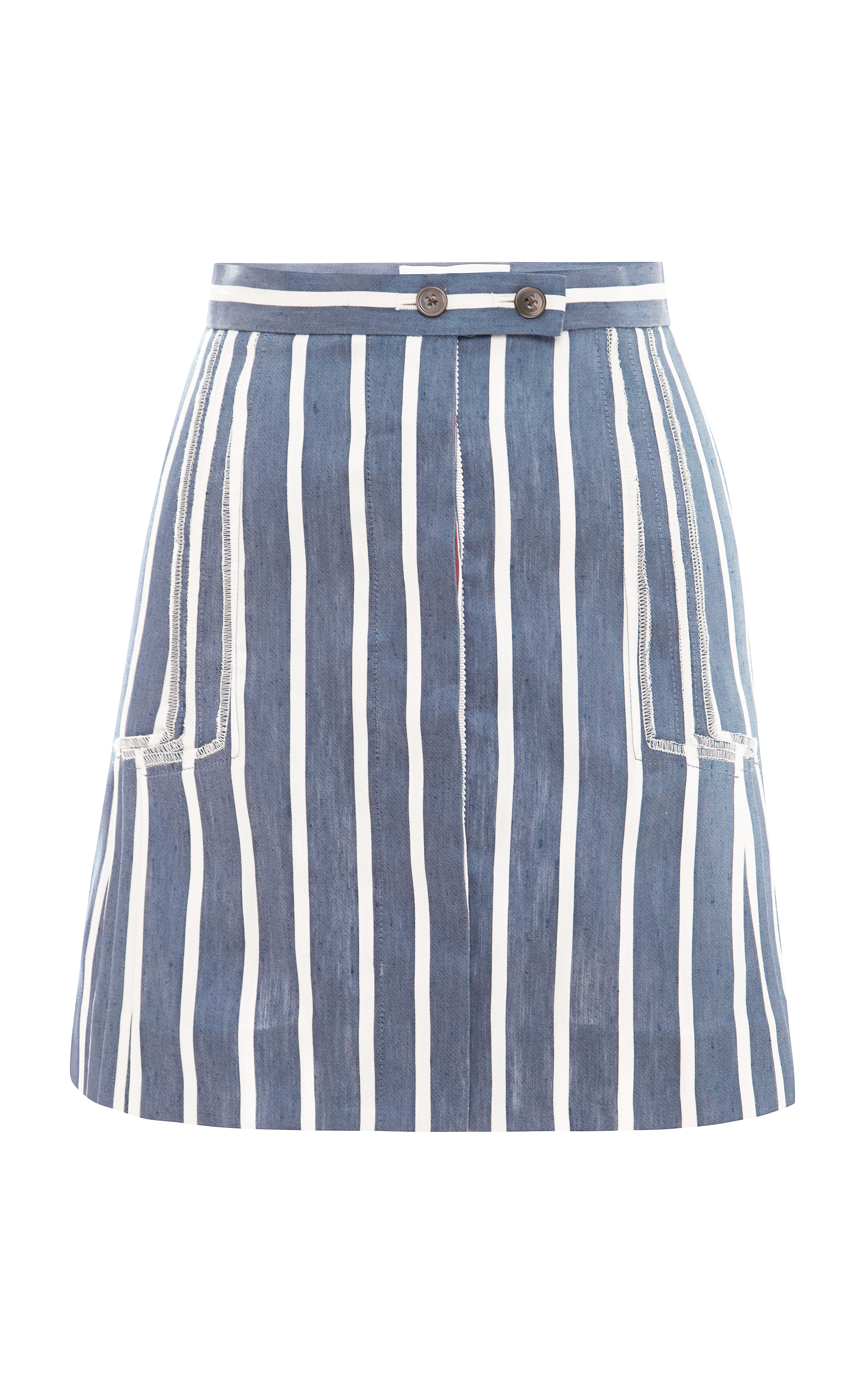 thom browne linen and silk striped skirt in blue lyst