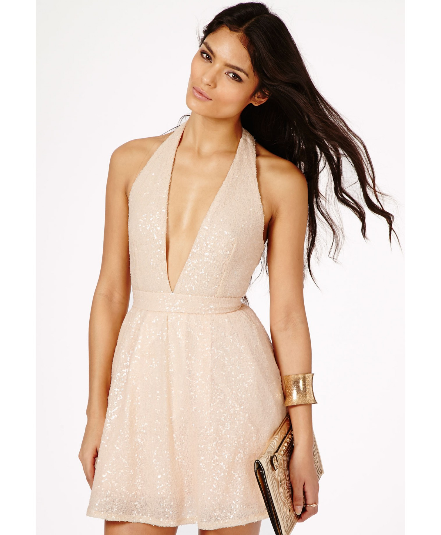 Lyst - Missguided Rika Sequin Halterneck Skater Dress in Nude in Natural b14741422