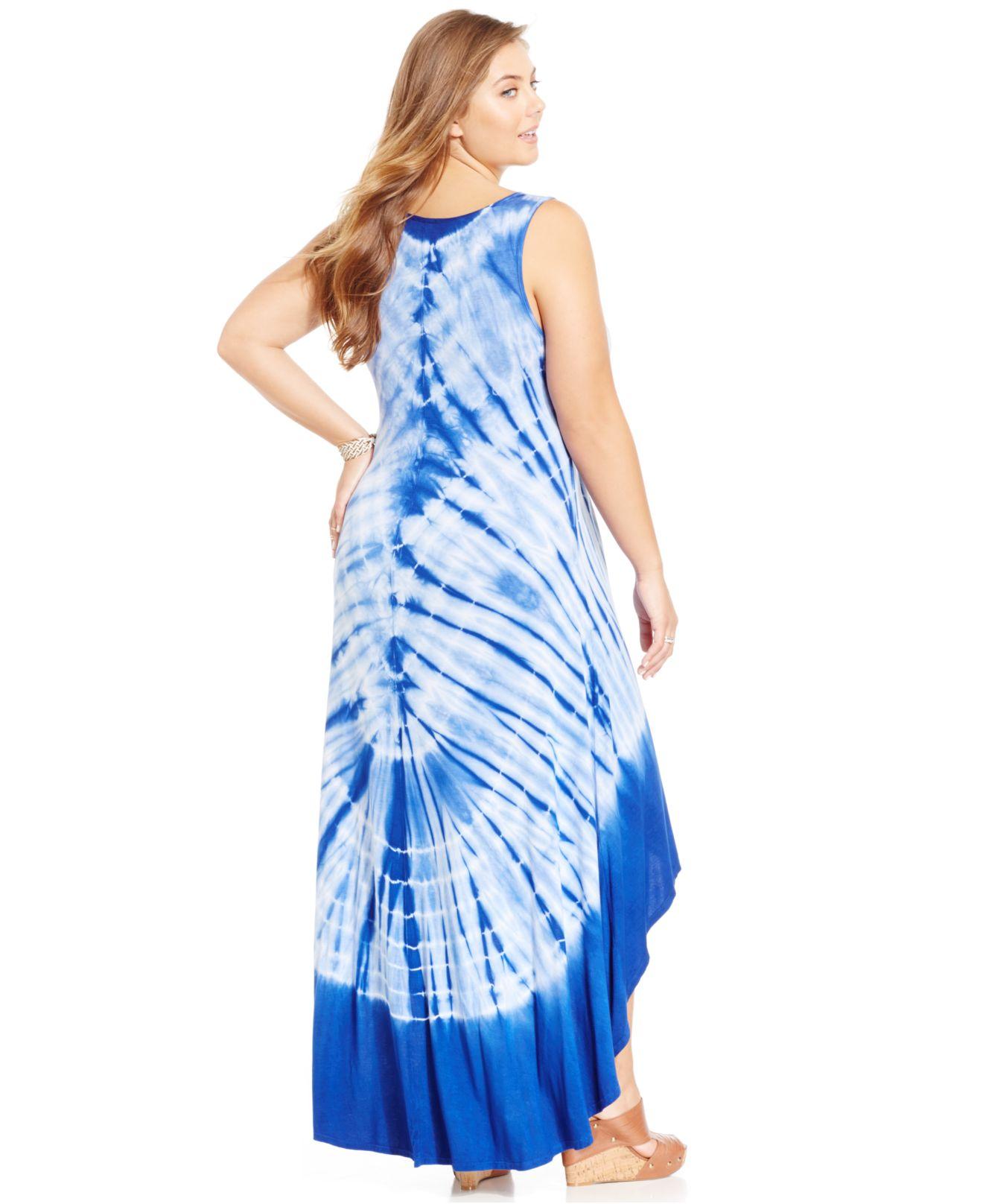 Plus Size Sleeveless Tie-Dye Maxi Dress