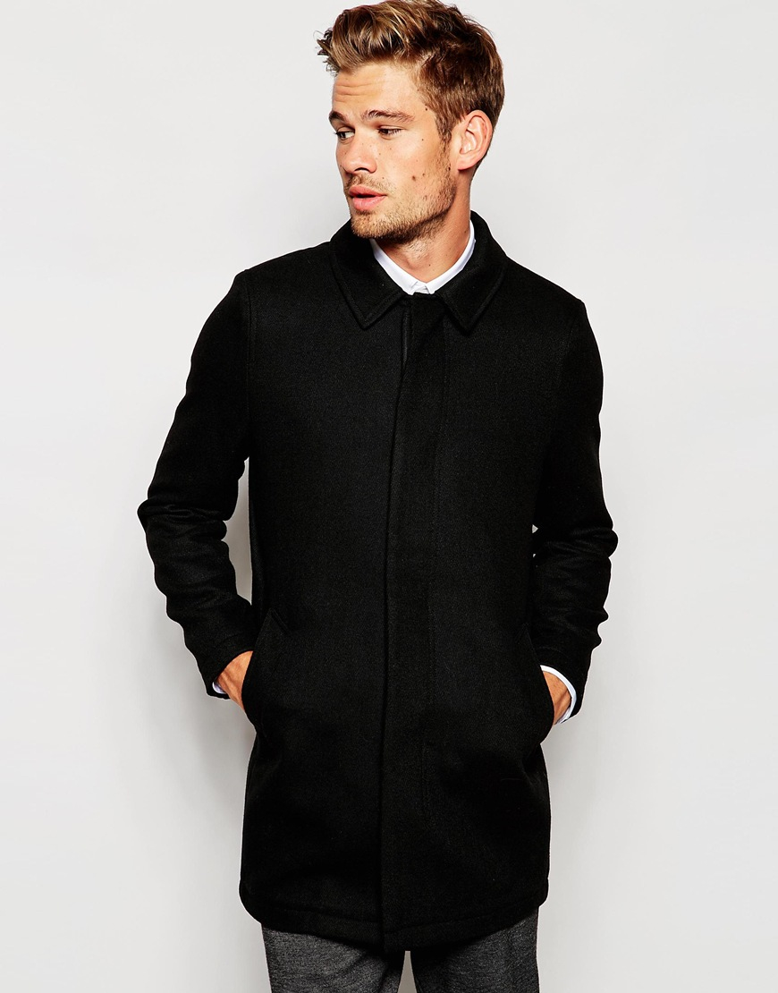 Selected Elected Homme Unstructured Wool Overcoat in Black for Men ...