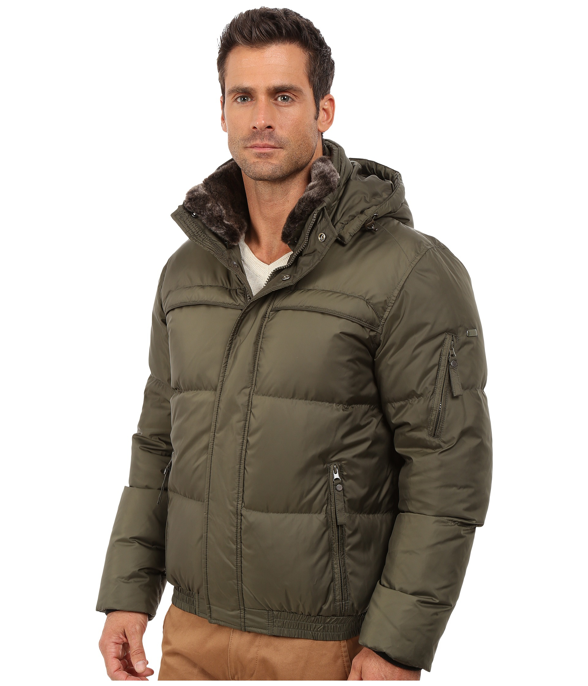 Marc New York by Andrew Marc Mens Fauxmula Down Bomber with Removable Hood and Faux Fur Collar