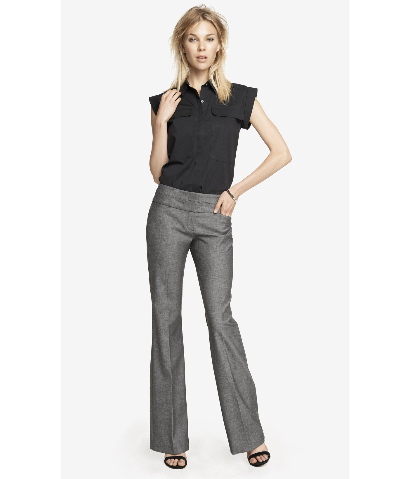 New Institute Liberal Women39s Grey Twill Bootcut Pants  Free Shipping