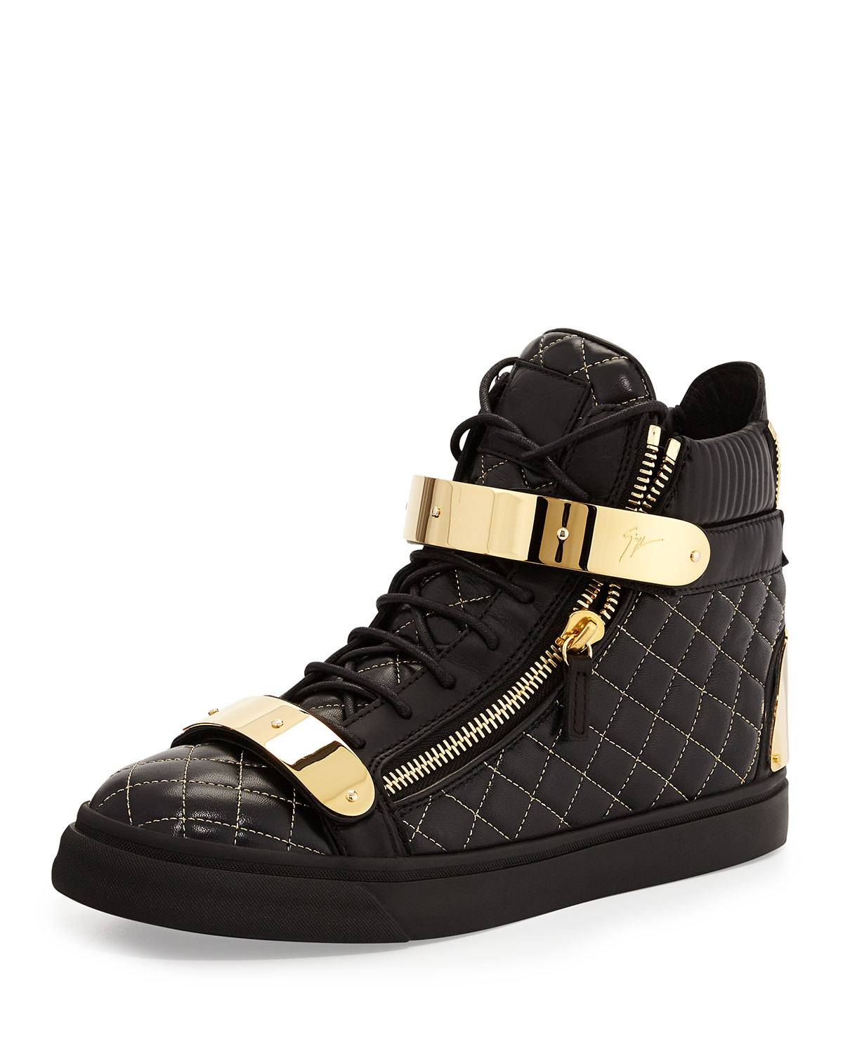 giuseppe zanotti quilted leather high top sneakers in. Black Bedroom Furniture Sets. Home Design Ideas